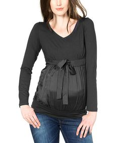 Loving this Black Satin Overlay Maternity Three-Quarter Sleeve Top on #zulily! #zulilyfinds