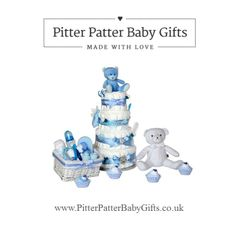 Unique luxury baby shower nappy cakes and new arrival gifts.  www.PitterPatterBabyGifts.co.uk