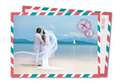'Love is in the air' airmail style wedding thank you card with a wedding photo.