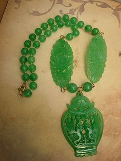 VIntage Green Celluloid Chinese necklace carved bird pendant Oriental carvings