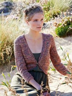 Brook - Knit this womens stocking stitch bolero from the Silkystones Collection, designed by Marie Wallin using the gorgeous yarn, Silkystones (silk...