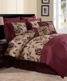3 size Manisa 7pc Comforter Bed Flower Floral Medallion Bed Duvet Cover Red