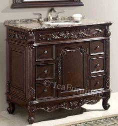 40 Inch Single Vanity with Marble Top - Item 2740 - This Bathroom Vanity is Currently on Pre order.