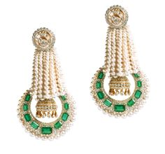 Freshwater pearls, diamonds and emeralds set in 18K yellow gold earrings, Anmol Jewellers, price on request; Anmoljewellers.in