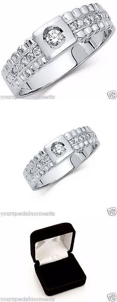 Rings 137856: 14K White Gold Mens Man Made Diamond Wedding Band Ring 7 8 9 10 11 12 11 12 13 -> BUY IT NOW ONLY: $299.0 on eBay!