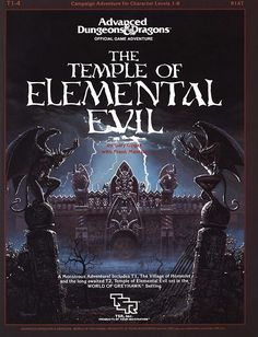 T1-4 Temple of Elemental Evil (1e) | Book cover and interior art for Advanced Dungeons and Dragons 1.0 - Advanced Dungeons & Dragons, D&D, DND, AD&D, ADND, 1st Edition, 1st Ed., 1.0, 1E, OSRIC, OSR, Roleplaying Game, Role Playing Game, RPG, Wizards of the Coast, WotC, TSR Inc. | Create your own roleplaying game books w/ RPG Bard: www.rpgbard.com | Not Trusty Sword art: click artwork for source