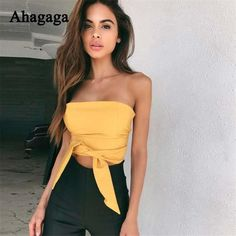 Tonlinker 2018 Summer Women Sexy Strapless Tube bow Tops And Blouses Bandage Sleeveless Crop Top Jaded bandage bow Wrap Chest. Product ID: Crop Top Und Shorts, Cami Crop Top, Cropped Tops, Female Shorts, Tie Front Crop Top, Sexy Shirts, Women's Shirts, Tees, Bow Tops