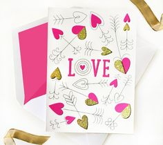 "Cupid's arrow aims straight for the heart on this whimsically detailed card created by Rob and Bob Studio! You can ""Make it Now"" in Design Space!"