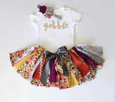 3 Piece Set - Fall Harvest Fabric Tutu, Headband/Clip, and Gobble Bodysuit // Thanksgiving // Pumpkins and Sunflowers // Baby or Toddler