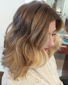 short balayage light brown to warm blonde