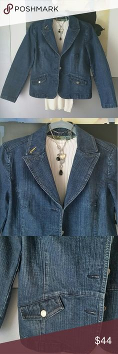 🍬Loft Denim Blazer Jean Jacket🍬 Sophisticated blazer style distressed dark wash denim jacket or jean jacket from Loft. Excellent condition. Silver buttons. LOFT Jackets & Coats Jean Jackets