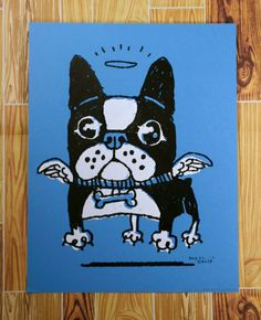 Flying Angel Boston Terrier/French Bulldog Screen Print by supah, $18.00