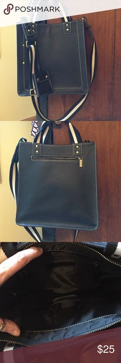 Crossbody leather tote Dark navy/black leather crossbody tote. EUC -- can hold books or tablet or notebooks. Fun piece! Bags Crossbody Bags