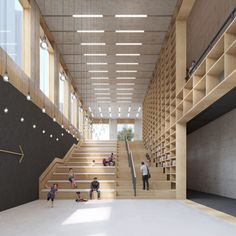 Longhua Art Museum and Library, Shenzhen, 2015 - M. - Longhua Art Museum and Library, Shenzhen, 2015 - M. Library Architecture, Museum Architecture, Stairs Architecture, Chinese Architecture, Interior Architecture, Auditorium Architecture, Modern Interior, Espace Design, Library Pictures