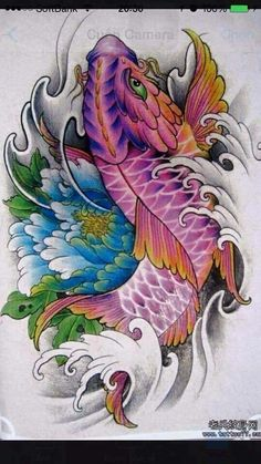 Japanese Tattoo Art, Japanese Tattoo Designs, Japanese Sleeve Tattoos, Koi Tattoo Design, Japan Tattoo Design, Pez Koi Tattoo, Carp Tattoo, Dragon Koi Fish, Purple Tattoos