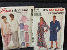 Sewing Patterns Pajamas & Robes Unisex Uncut Easy Patterns McCalls Simplicity #McCallsSimplicity