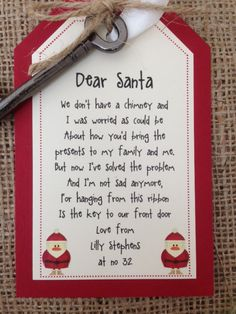 Santa's Key & Personalised tag make sure Father by TheVowSheffield Christmas Craft Fair, Kids Christmas Ornaments, Christmas Poems, Christmas Crafts To Make, Christmas Eve Box, Christmas Wonderland, Homemade Christmas Gifts, Primitive Christmas, Christmas Bells
