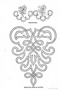Soutache Braid Patterns--Inspo for Eagle Tambour Beading, Tambour Embroidery, Embroidery Patterns, Hand Embroidery, Machine Embroidery, Piping Patterns, Quilt Patterns, Soutache Pattern, Braid Patterns