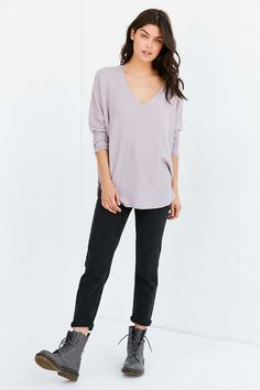 Out From Under Oversized Cozy Thermal V-Neck Top - Urban Outfitters