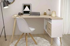 Home Office Inspiration, Workspace Inspiration, Home Office Table, Home Office Design, Corner Furniture, Furniture Design, Mini Office, Desks For Small Spaces, Study Room Decor