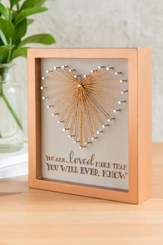 are loved more than you will ever know Such a beautiful shadowbox with a stringart heart. You are loved more than you will ever know Such a beautiful shadowbox with a stringart heart. String Art Heart, Nail String Art, String Art Templates, String Art Patterns, Fun Crafts, Diy And Crafts, Arts And Crafts, Resin Crafts, Mothers Day Crafts