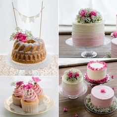 Naked wedding cakes, small tarts, cakepops and cookies - the main thing . Fall Wedding Cakes, Wedding Cakes With Cupcakes, Mini Cupcakes, Cupcake Cakes, Wedding Blog, Cake Pops, Fall Desserts, Pretty Cakes, Yummy Cakes