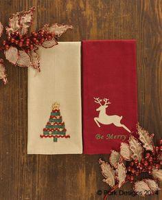 Grosgrain Christmas Tree Dishtowel & Be Merry Reindeer Dishtowel