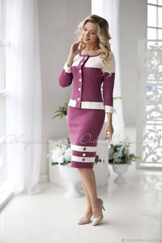 """Elegant classic knitted two-piece purple suit """"Cranberry in sugar"""" Consists of a jacket and the penc Girly Outfits, Cute Casual Outfits, Stylish Outfits, Fashion Outfits, Fashion Purses, Men Fashion, Fashion Tips, Beautiful Prom Dresses, Beautiful Outfits"""