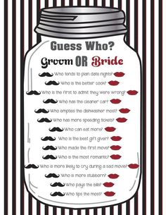 """Bridal Shower Game """"Guess Who?"""" Couples Shower Game Wedding Shower Game"""