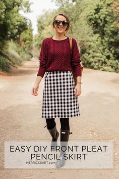 How to make a pleat front pencil skirt   merricksart.com @fabric.com #sponsored #madewithfabric