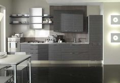 Similar to this colour cabinets darker char ash colour textured with a butter stone bench top