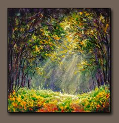 Original Acrylic painting Road in the sunny forest. Painting size: x / x Buy painting by artist Valery Rybakow. Forest Painting, Oil Painting Flowers, Artist Painting, Bright Paintings, Buy Paintings, Landscape Paintings, Canvas Painting Tutorials, Original Paintings For Sale, Art Articles