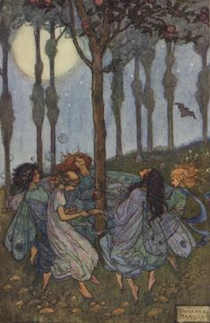 An poster sized print, approx (other products available) - Fairies dancing in a circle beneath the trees - Image supplied by Mary Evans Prints Online - Poster printed in the USA Pretty Art, Cute Art, Art Bizarre, Arte Inspo, Les Fables, Arte Obscura, Fairytale Art, Hippie Art, Fairy Art