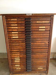 Reclaimed Hamilton Letterpress Cabinet, Printers Cabinet, Mid ...