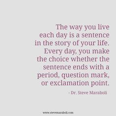 A forma como vives cada dia é uma frase na história da tua vida. Cada dia, escolhes se essa frase termina com um ponto final, com um ponto de interrogação ou um ponto de exclamação.