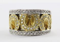 18K White & Yellow Gold Sonia Bitton 1.5 Carat Diamond Horseshoe Ring
