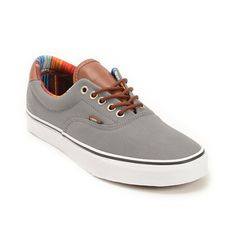 grey and brown vans