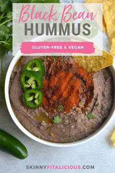 Spicy Black Bean Hummus Without Tahini lightened up by omitting the traditional ingredientwithout sacrificing taste.Pair with veggies & crackers for a healthy snack or spread on sandwich for extra protein & spice! Gluten Free + Vegan + Low Calorie