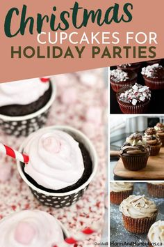 Looking for quick and delicious cupcake recipes for holiday parties? Check out this wonderful collection of Christmas Cupcakes bound to delight to get started! Easy No Bake Desserts, Party Desserts, Holiday Desserts, Holiday Recipes, Delicious Desserts, Yummy Cupcakes, Hot Chocolate Cupcakes, Cupcake Recipes, Baking Recipes