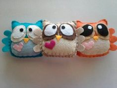 Felt Plush Owls your choice of two by CLASicCRAFTS on Etsy only ten dollars! Felt Owls, Felt Animals, Needle Felted Animals, Needle Felting, Crochet Projects, Sewing Projects, Felt Bookmark, Owl Crafts, Felt Fabric