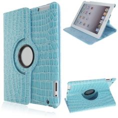 Crocodile Texture Design 360 Degrees Rotating Stand PU Leather Case Cover for The New iPad/iPad 2