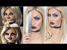 This girl does the coolest Halloween makeup videos!! Halloween Tutorial ♡ Bride Of Chucky Doll (Tiffany)