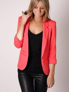 Black with coral jacket