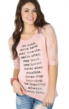 Deb Shops Three-Quarter Sleeve Raglan Top with Lace Sleeves and Be Kind Screen $14.17