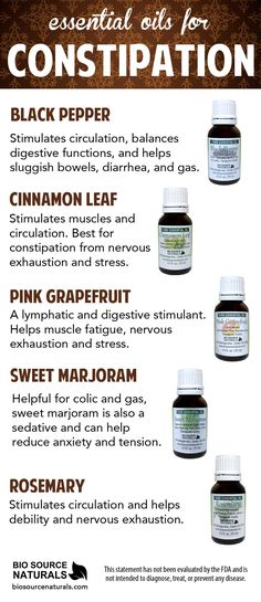 Essential Oils can help soothe symptoms of constipation.  Benefits can include helping to increase circulation and reduce gas, as well as the symptoms associated with constipation, such as soothing nervous tension and anxiety.  Click the image to learn more!  #aromatherapy