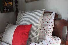 Stars, ticking stripe, color block bedding