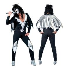 Mens Glam Rock Jumpsuit Fancy Dress Costume Outfit Alice Cooper Kiss Halloween M Halloween Mode, Halloween Fashion, Halloween Fancy Dress, Halloween Costumes, Alice Fancy Dress, Adult Fancy Dress, 70s Outfits, Glam Rock, 70s Mens Clothes