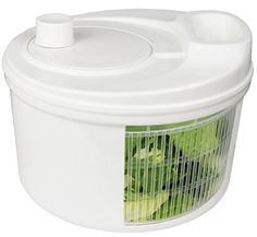 Greenco Easy Spin Manual Salad Spinner, 4 quart, White - Crispy and fresh salads are a cinch with the Greenco Salad Spinner. Simply load salad ingredients into this handy appliance, rinse them in the sink, and give it a spin. Powered by a simple hand crank, this green appliance uses no electricity and compliments any modern kitchen.