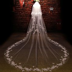 Two-tier Cut Edge Wedding Veil Cathedral Veils with Rhinestone / Appliques / Scattered Bead Floral Motif Style Lace / Tulle / Oval Wedding Tiara Veil, Cathedral Wedding Veils, Wedding Tiaras, Wedding Bells, Bridal Veils, Wedding Hair, Wedding Dresses, Estilo Floral, Formal Wedding