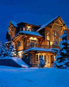 Rustic Log Home in Aspen, CO. I love the town center in Aspen, it is beautiful and the views day or night are breathtaking. Bar Design, House Design, Log Cabin Homes, Log Cabins, Mountain Homes, Aspen Mountain, Mountain Style, Cabins And Cottages, Winter House